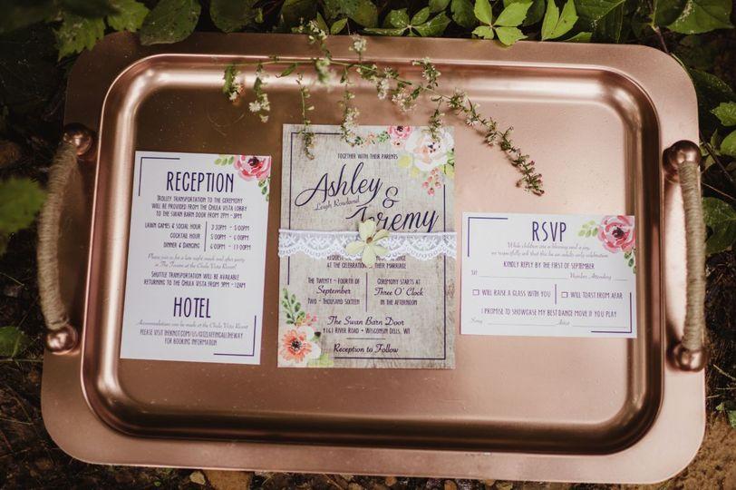 Custom designed wedding invitation suite.