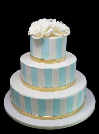 Stripped in blue cake