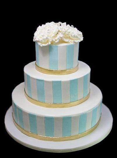 Stripped in blue cake