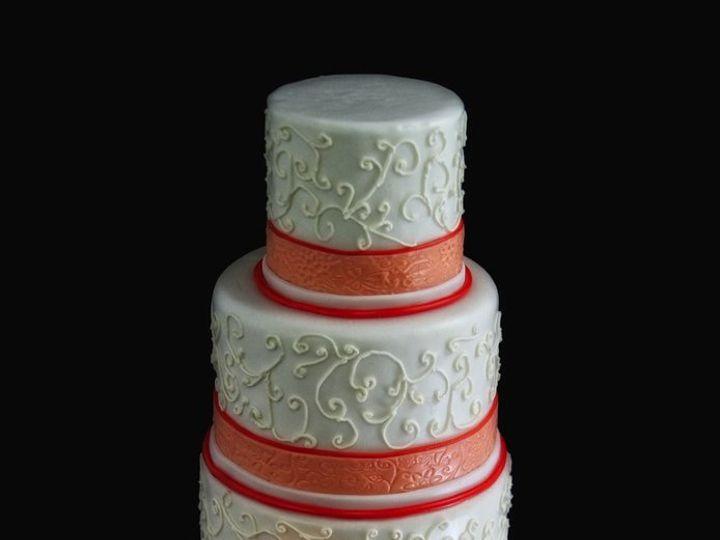 Tmx 1357853039343 OrangeWhiteScrollCake Long Island City, New York wedding cake