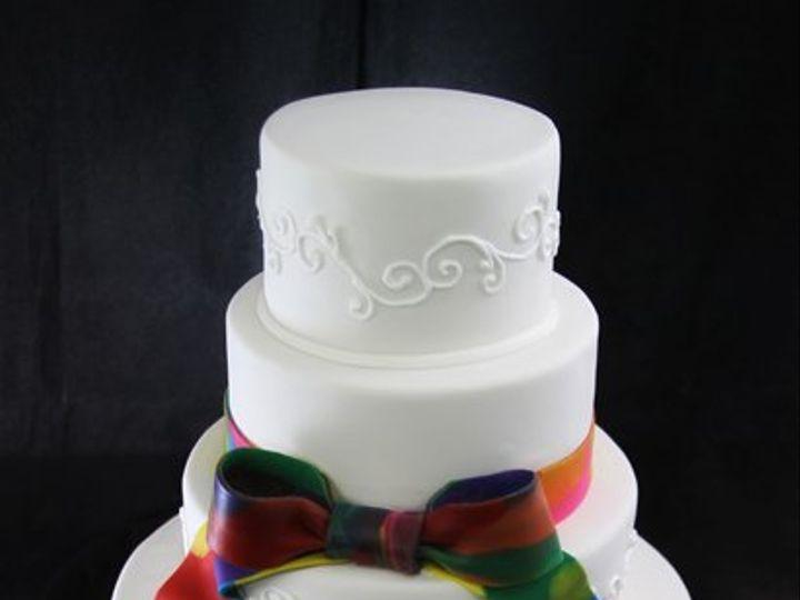 Tmx 1357853132469 TieDyeRibbonWeddingcake Long Island City, New York wedding cake