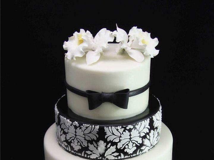 Tmx 1420744369005 Black  White Brocade Wedding Cake Long Island City, New York wedding cake
