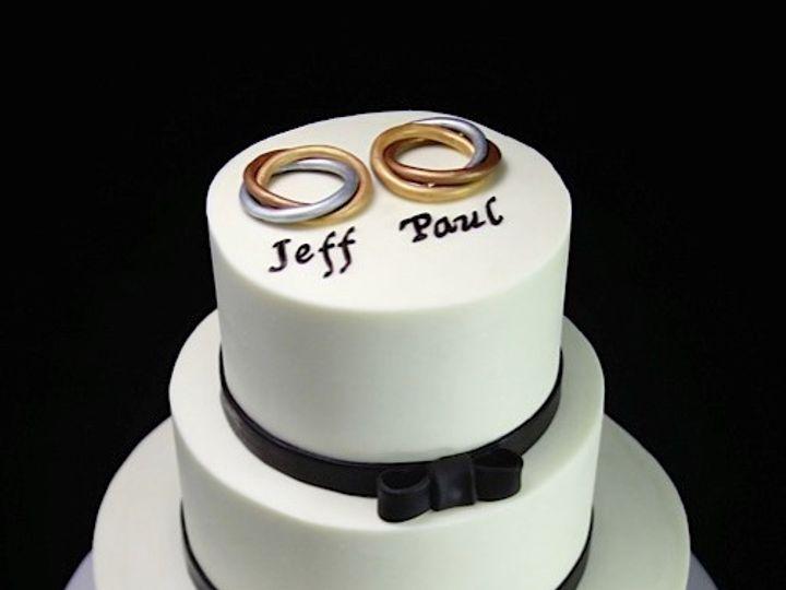 Tmx 1420744399542 Wedding Bands With Black Bow Trim Wedding Cake Long Island City, New York wedding cake