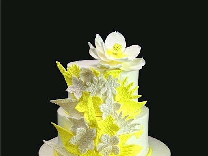 Tmx 1420744404188 Yellow Whimsical Embossed Flowers Wedding Cake Long Island City, New York wedding cake