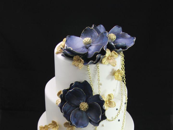 Tmx 1420744824651 Gold Tipped Blue Magnolias Wedding Cake Long Island City, New York wedding cake