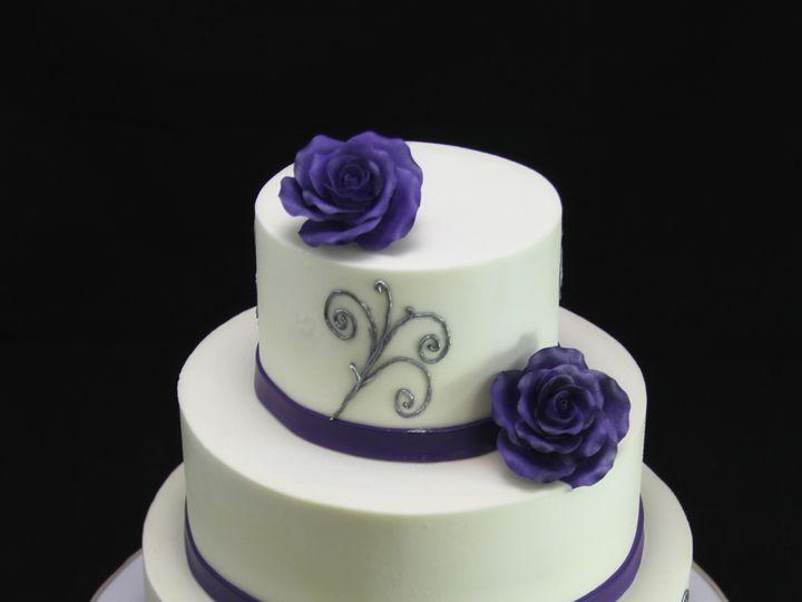 Tmx 1420745370795 Purple Rose  Silver Wedding Cake Long Island City, New York wedding cake