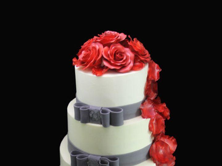 Tmx 1420745400694 Rose Petal Cascade  Double Side Bow Wedding Cake Long Island City, New York wedding cake
