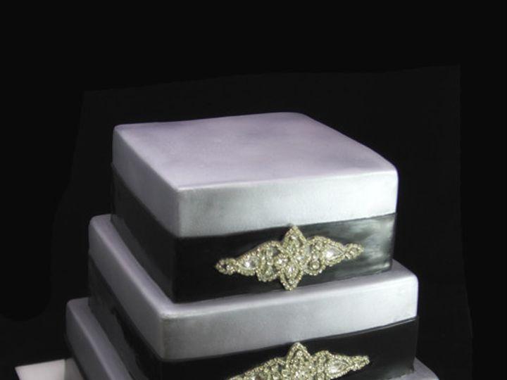 Tmx 1420745406706 Studded Applique Square Black  Silver Wedding Cake Long Island City, New York wedding cake