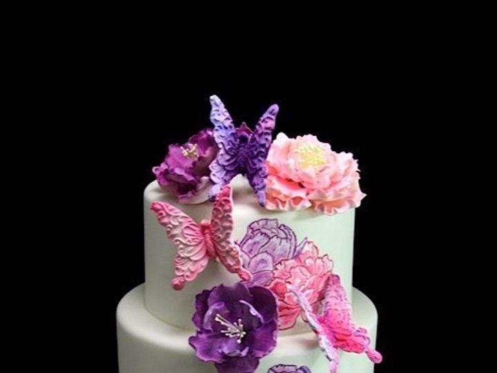 Tmx 1433364985733 Pink  Purple Peony  Butterfly Cake Long Island City, New York wedding cake