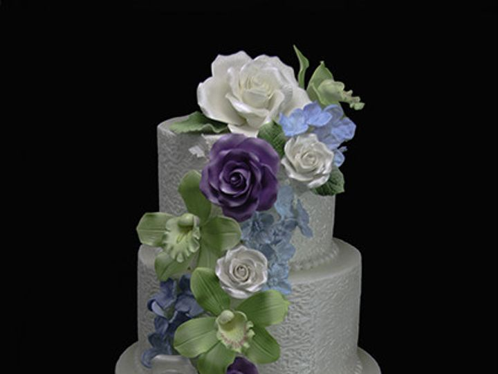 Tmx 1440614071213 Lace Wrapped Floral Cascade Wedding Cake Long Island City, New York wedding cake