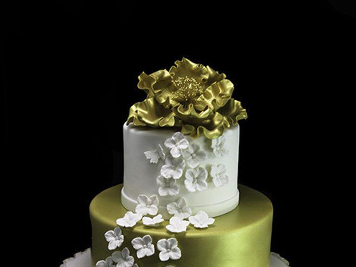 Tmx 1440614135698 Gold Edged Ruffles With Peony Wedding Cake Long Island City, New York wedding cake