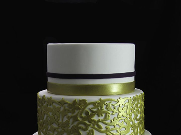Tmx 1440614861575 Eggplant  Gold Wedding Cake Long Island City, New York wedding cake