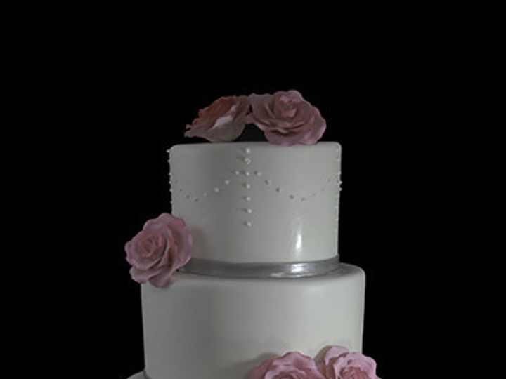 Tmx 1440614916086 Blusk Pink Roses With Piped Dots Wedding Cake Long Island City, New York wedding cake