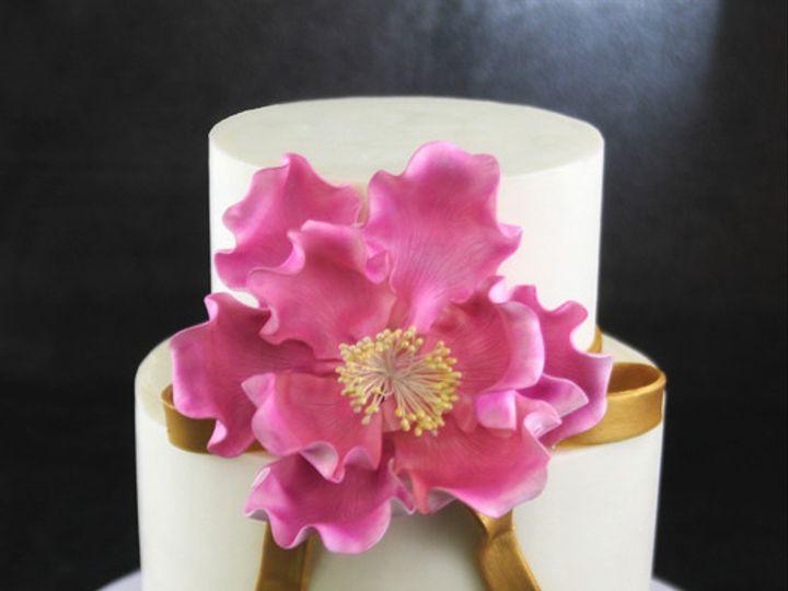 Tmx 1449520116165 Pink Peony Gold Ribbon Cake Long Island City, New York wedding cake