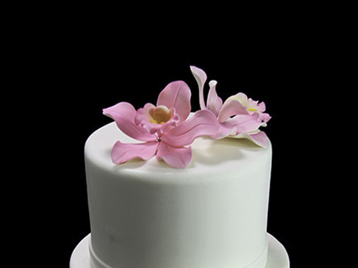 Tmx 1449520479194 Side Bow With Orchids Wedding Cake Long Island City, New York wedding cake