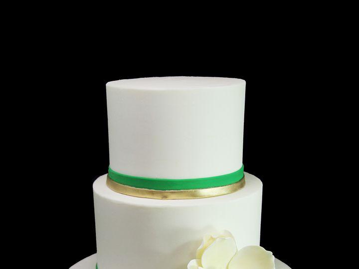 Tmx 1459533830504 Gold  Green Double Band With Magnolia Wedding Cake Long Island City, New York wedding cake