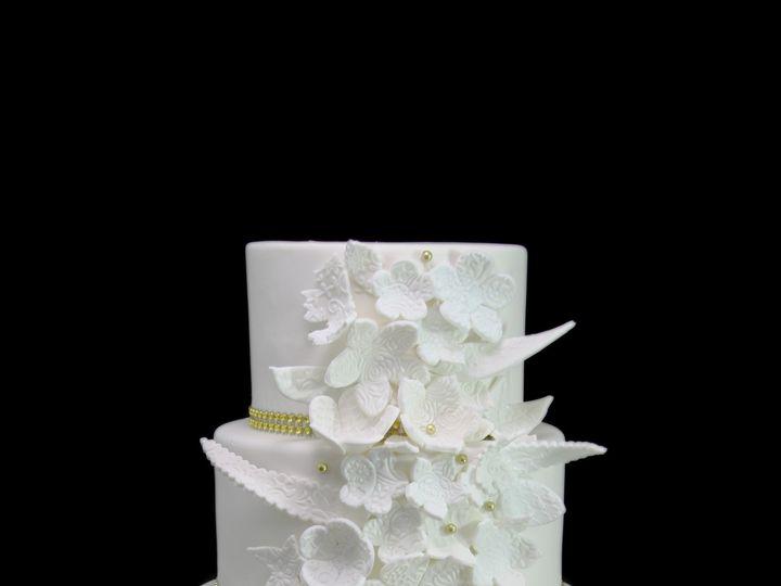 Tmx 1459533853714 Whimsical Embossed Flowers Dragees  Glam Ribbon We Long Island City, New York wedding cake