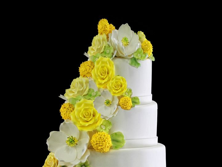 Tmx 1459534059749 5 Tier Flower Cascade Wedding Cake Long Island City, New York wedding cake
