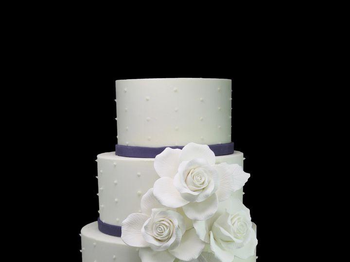 Tmx 1466009550694 5 Tier Trio Of Roses  Swiss Dots Wedding Cake Long Island City, New York wedding cake