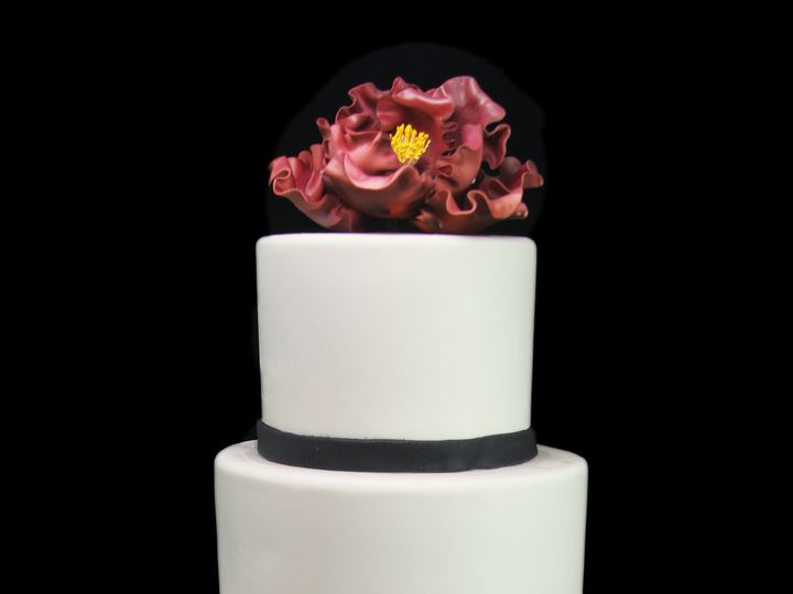 Tmx 1466010410955 Giant Peony With Fondant Ruffle Tier Wedding Cake Long Island City, New York wedding cake