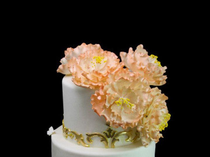 Tmx 1478200711448 Gold Filigree With Peonies Cake Long Island City, New York wedding cake