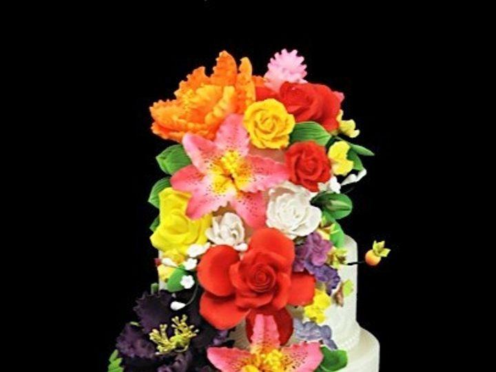 Tmx 1478201335690 Cascading Curved Flowers Cake Long Island City, New York wedding cake