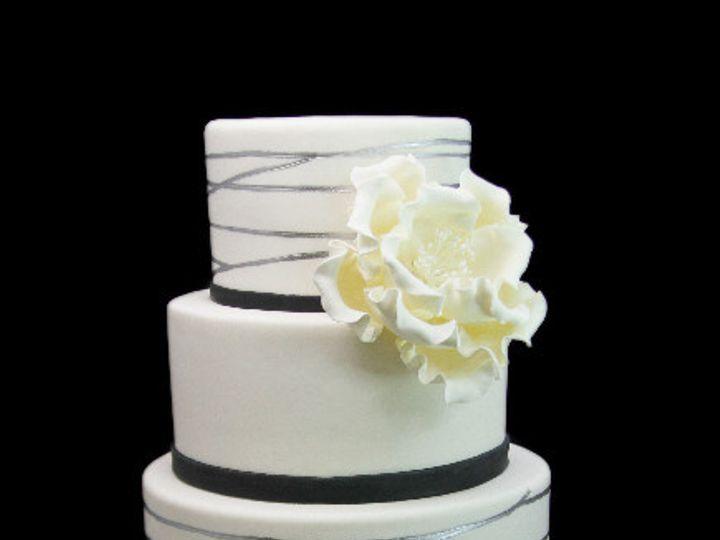 Tmx 1479491605730 Silver Leaf Tier With Giant Peony Cake Long Island City, New York wedding cake