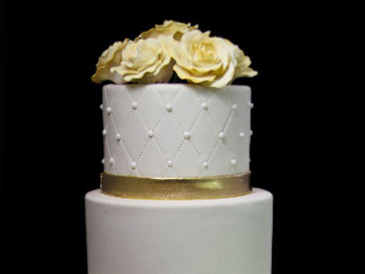 Tmx 1479491967446 Quilting Gold Thin Band Roses Wedding Cake Long Island City, New York wedding cake