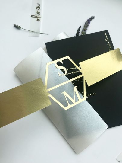 Black and gold modern invitation