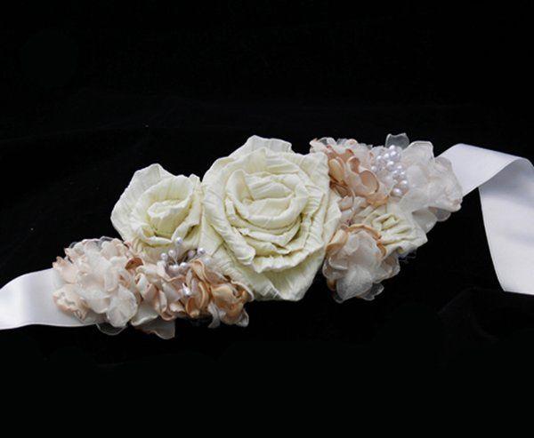 Ivory rose bridal sash from LambethLane