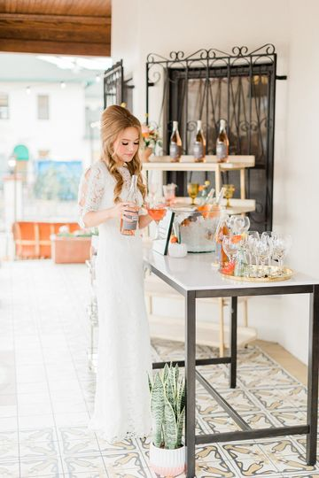 Bride with cocktails