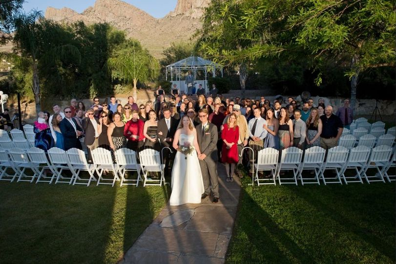 SoSco Flute & Guitar Duo performs for Reflections at the Buttes Tucson wedding