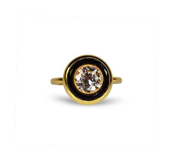 Diamond & Onyx Engagement Ring