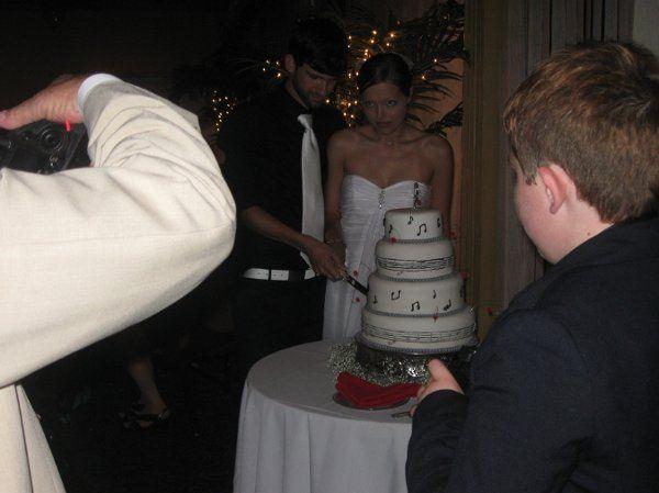 Couple slicing the wedding cake
