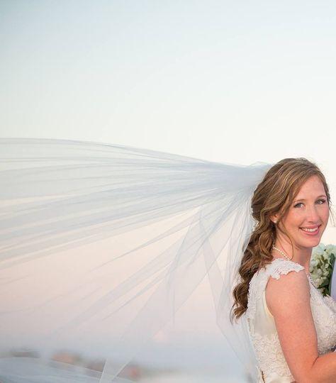 Bride's veil flowing