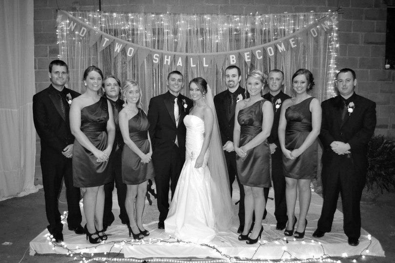 Mr and Mrs. Scott Harris and Bridal Party in the lower level in our new facilities.