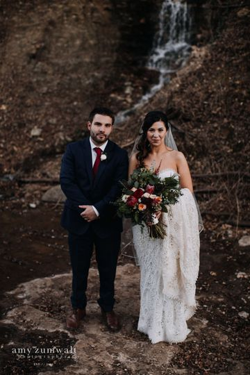 Newlyweds by the waterfalls