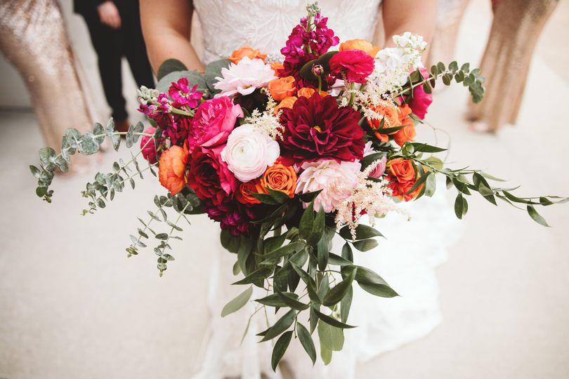 Burgundy pink orange bouquet