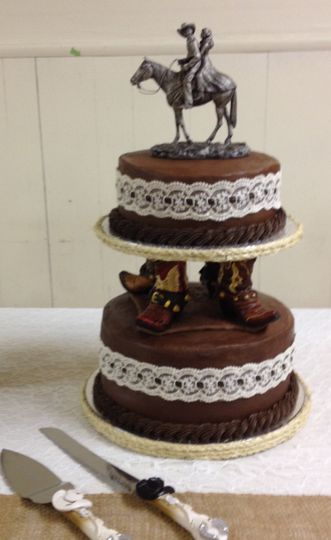 2-tiered chocolate buttercream cake