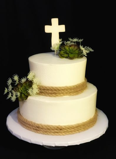 2-tier cake with cross