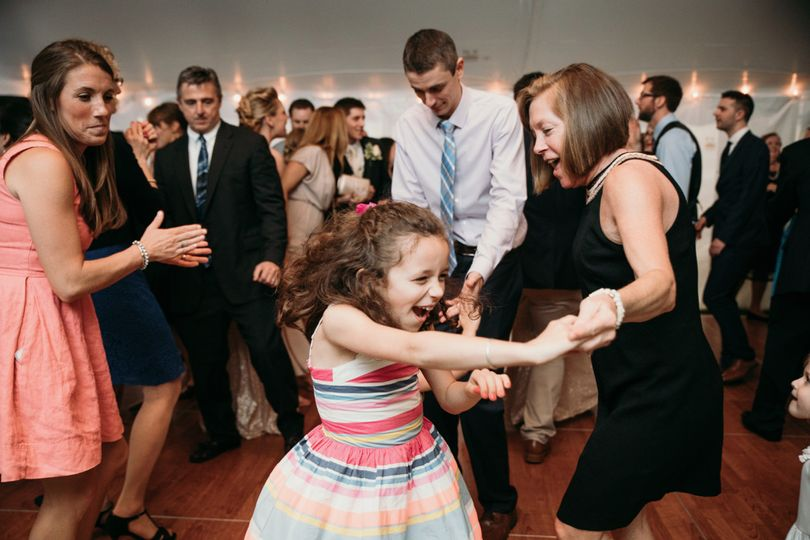 Packed Dance Floor at a backyard tent wedding in Nashua NH | Photo Credit LKH Photography