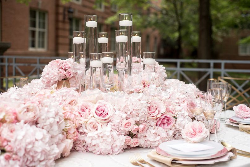 Pink roses cascading for a beautiful tablescape
