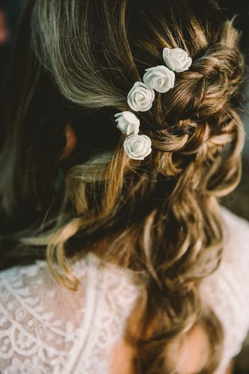 Style Me Bar created a boho look for our bride's hair