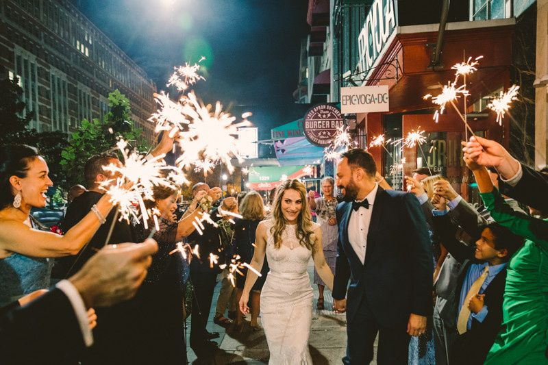 This sparkler exit through the streets of Washington DC ended the night with a festive feel!