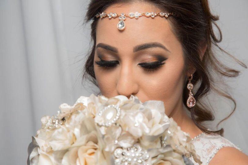 Bridal makeup and headpiece