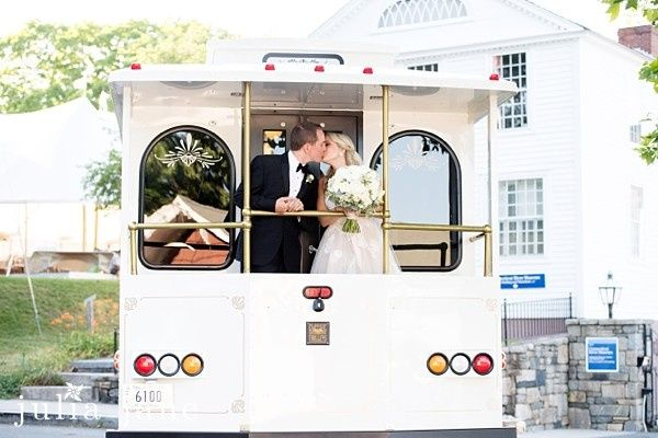 Wedding couple in a tram