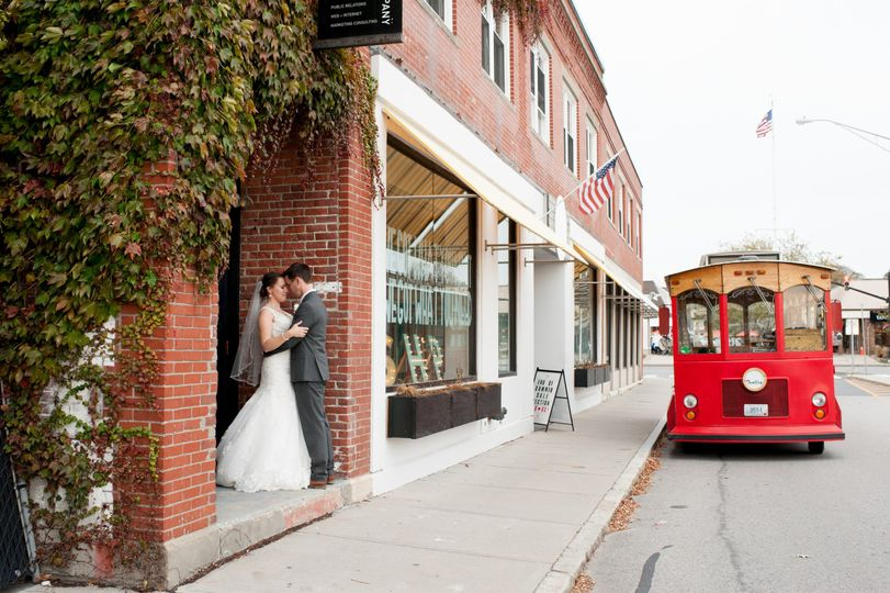 Newlyweds at a storefront