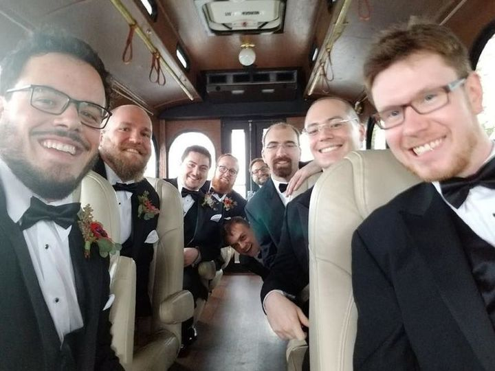 Groomsmen and the groom