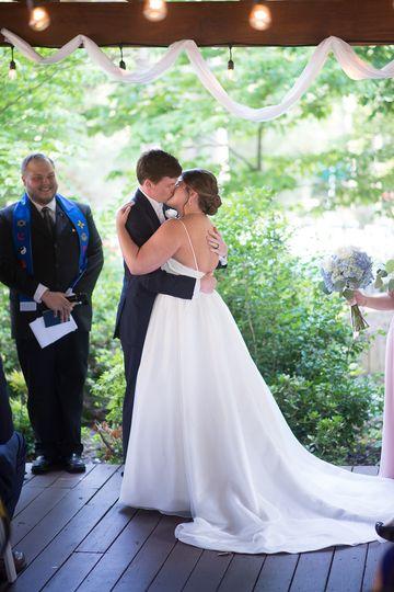 Couple's wedding kiss