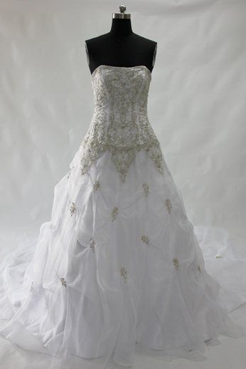 A-line Strapless Embroidery Court Train Wedding Gown Style Code: 05939 $259